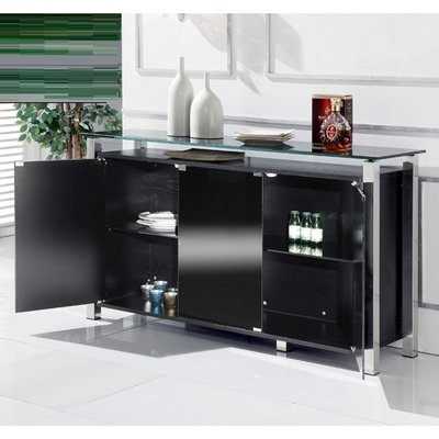 Mabella Glass Sideboard In Black With 3 Doors