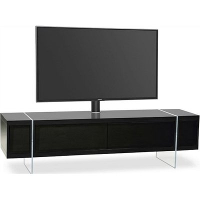 Mainor TV Stand In Black With Glass Doors And Acrylic Legs