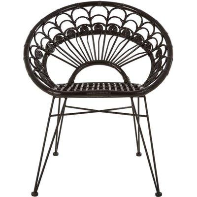 Hunor Black Kubu Rattan Chair With Black Iron Legs