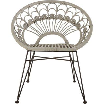 Hunor Grey Kubu Rattan Chair With Black Iron Legs