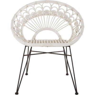 Hunor White Kubu Rattan Chair With Black Iron Legs