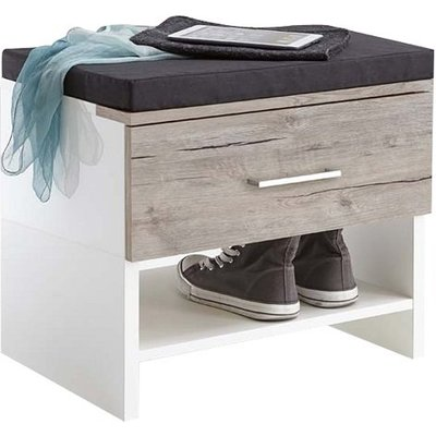 Mandy Shoe Bench In White High Gloss And Sand Oak