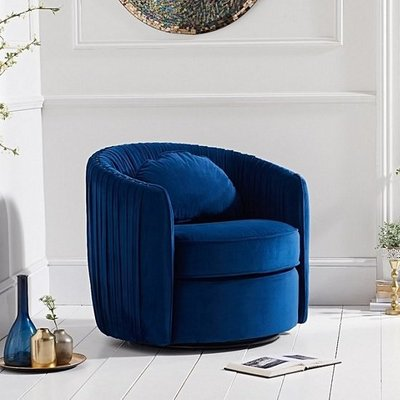 Medan Modern Swivel Sofa Chair In Blue Velvet