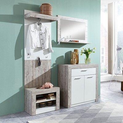 Midas Wooden Hallway Furniture Set In Sand Oak And White