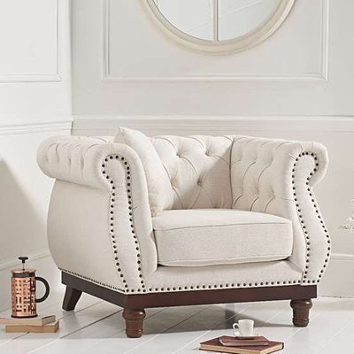 Morava Linen Armchair In Ivory