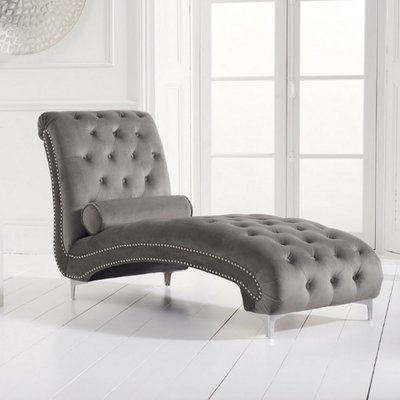 Mulberry Modern Fabric Lounge Chaise In Grey Velvet