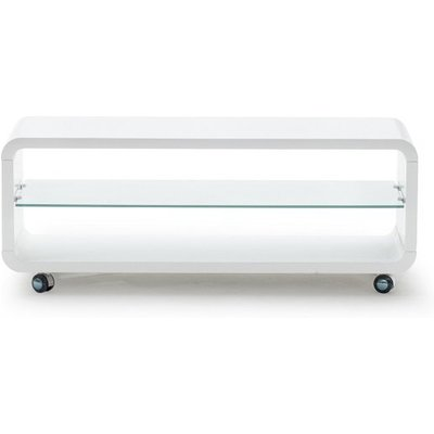 Mundell Large TV Stand In White High Gloss With Glass Shelf