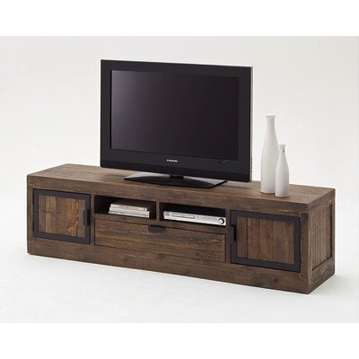 Norfolk TV Stand Pine Antique Brown Finish With Drawer