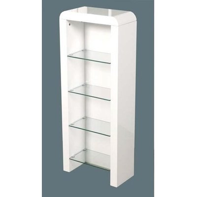 Norset CD DVD Storage Unit In White Gloss With 4 Glass Shelf