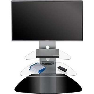 Odelia TV Stand In Black And Clear Glass Metal Frame With LED