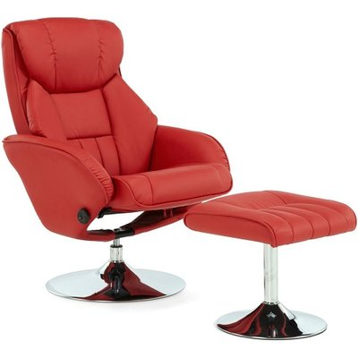 Olten Contemporary Recliner Chair In Red Faux Leather