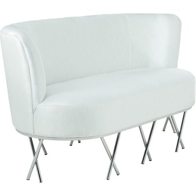 Oprah 2 Seater Sofa In Ivory White Silk With Silver Legs