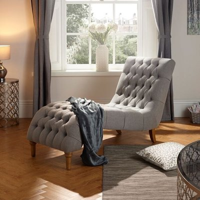 Orleans Lounge Chaise In Grey Fabric With Wooden Legs