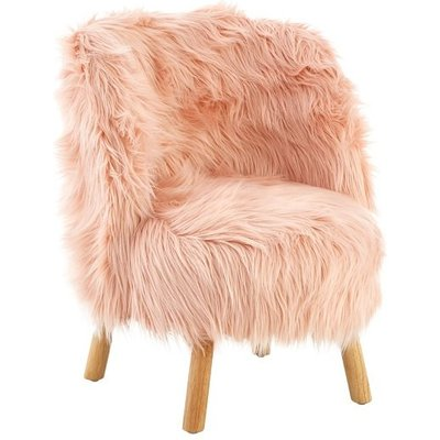 Panton Childrens Chair In Pink Faux Fur With Wooden Legs