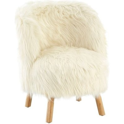Panton Childrens Chair In White Faux Fur With Wooden Legs