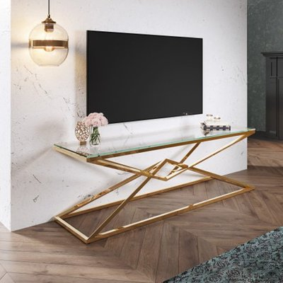 Parma Clear Glass TV Stand With Gold Stainless Steel Legs