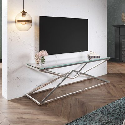 Parma Clear Glass TV Stand With Silver Stainless Steel Legs