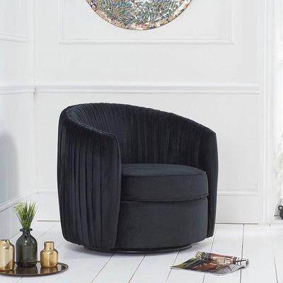Pavos Tub Design Velvet Swivel Lounge Chair In Black