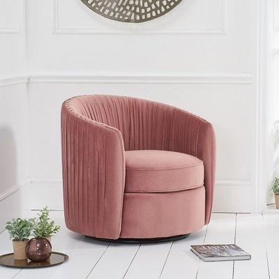 Pavos Tub Design Velvet Swivel Lounge Chair In Blush Pink