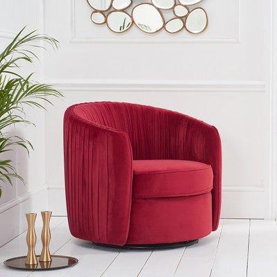 Pavos Tub Design Velvet Swivel Lounge Chair In Red