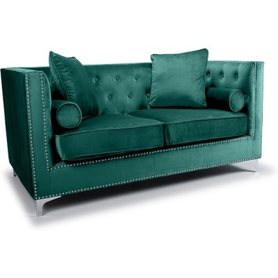 Peckham 2 Seater Sofa In Green Brushed Velvet With Chrome Legs