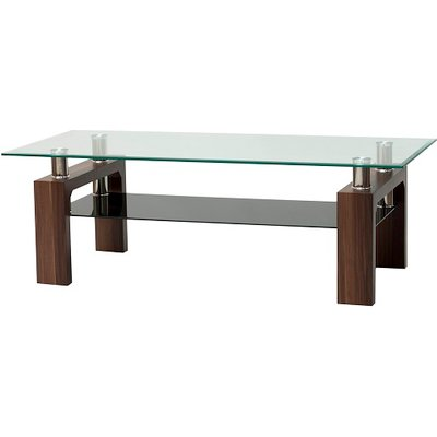 Petra Glass TV Stand Rectangular In Clear With Walnut Legs