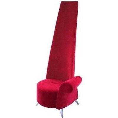 Potenza Novelty Chair In Red Velvet With Chromed Steel Feet