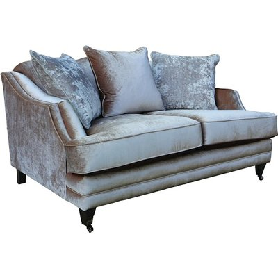 Preston 2 Seater Sofa In Champagne Velvet With Dark Wooden Legs