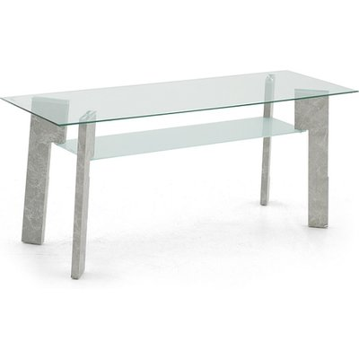 Primus Glass TV Stand Rectangular In Clear With Grey Legs