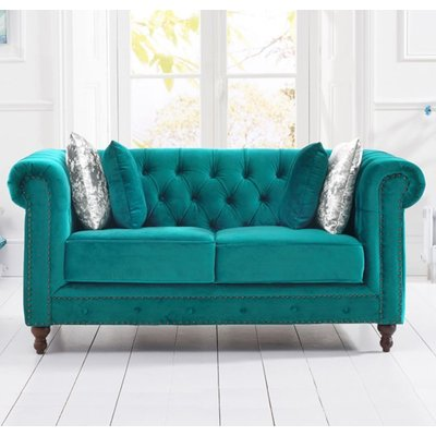 Propus Plush Fabric 2 Seater Sofa In Teal