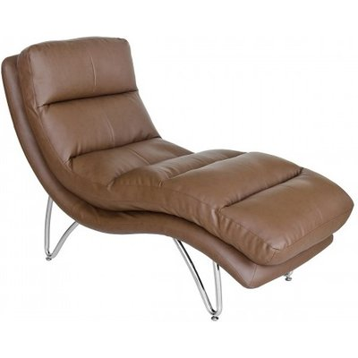 Rivilino Lounge Chaise In Brown Faux Leather With Chrome Legs
