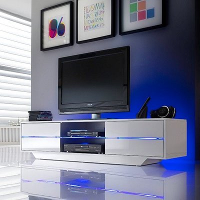 Sienna TV Stand Unit In High Gloss White With Multi Led Lights