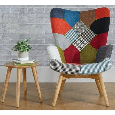 Sloane Fabric Lounge Chaise Armchair In Patched