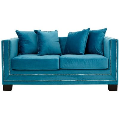 Pipirima Velvet 2 Seater Sofa In Cyan Blue