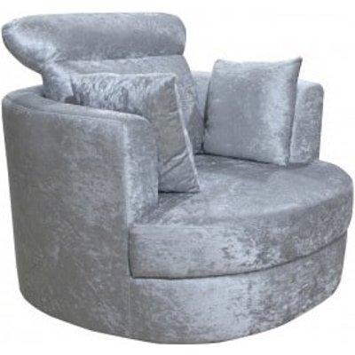 Sokoto Snug Swivel Chair In Crushed Silver Velvet