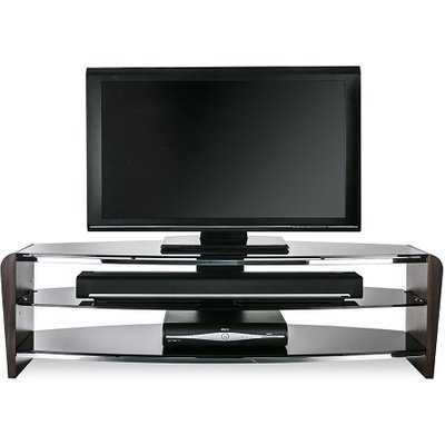 Sunbury Medium Wooden TV Stand In Walnut With Black Glass