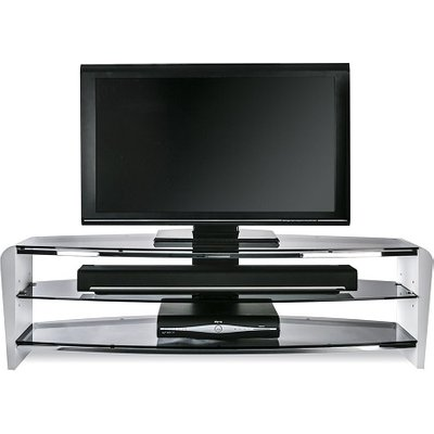 Sunbury Medium Wooden TV Stand In White With Black Glass