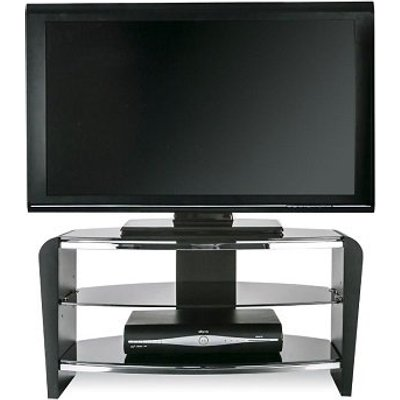 Sunbury Wooden TV Stand In Black Wood With Black Glass