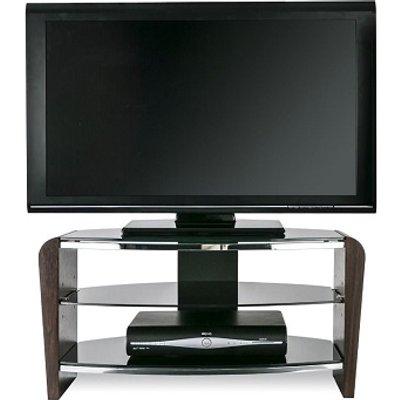 Sunbury Wooden TV Stand In Walnut With Black Glass