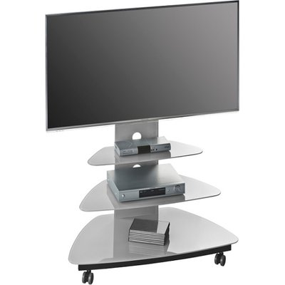 Taylor TV Stand In Platinum Grey Glass With Black Metal Frame