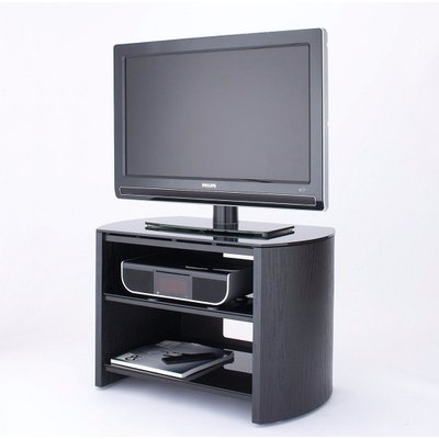 Trosper Small Wooden TV Stand In Black Oak With Black Glass