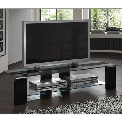 Opus Glass Lowboard TV Stand In Black High Gloss