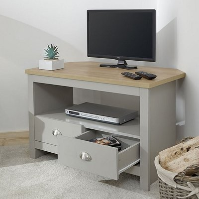 Valencia Wooden Corner TV Stand In Grey With 2 Drawers