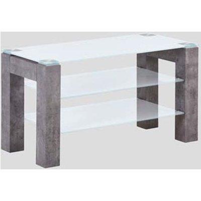 Warren Clear Glass Small TV Unit With Concrete Effect Base