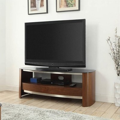 Westin Wooden TV Stand In Black Glass And Walnut With 2 Drawers
