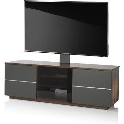 Zephyr TV Stand In Walnut With Glass And Matt Grey Doors