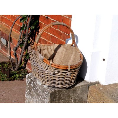 Kubu Oval Log Basket With Jute Lining