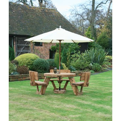 Round 6 Seater Picnic Table With Backrests | FSC® Certified