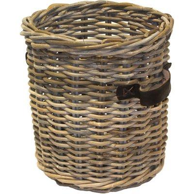 Small Round Kubu Basket With Leather Handles