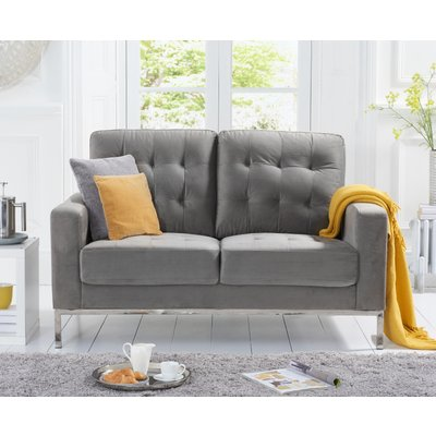 Larma Grey Velvet 2 Seater Sofa